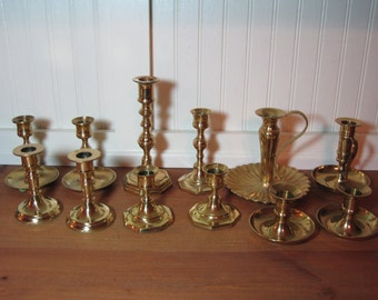 12 Bright Brass Candlesticks, Candle Holders, Brass Decor, Wedding, Regency, Staging BR2500