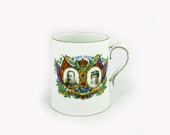 Antique King George V Silver Jubilee mug, royal souvenir, Stanley China commemorative mug
