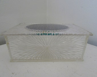 Vintage Acrylic Star Burst Retro Plastic Boxes Hollywood Regency Style Vintage Crystal Clear Cut Lucite,