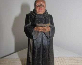 Hand Carved Wood Folk Art Priest with Bible ANRI Carving