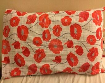 Poppy Flower Pillow Case Handmade