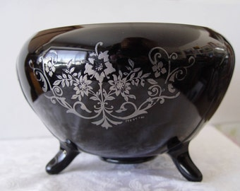 Vintage Black Amethyst Glass Footed BOWL with Sterling Designs ~ Cambridge or Paden City ?