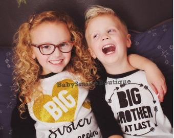 Big Brother AT LAST Shirt Big Bro Shirt Personalized Shirt Raglan Tee Sibling Shirts Raglan shirt Baby Announcement Shirt Pregnancy 122