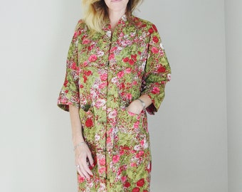 Vintage 60s Paradise Hawaii Kimono House Dress Asian Inspired Floral Long Dress -- large