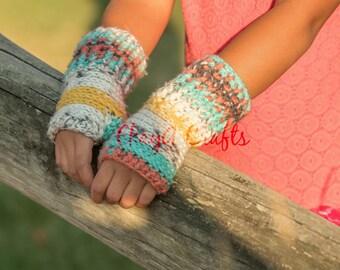 Summer's End Fingerless Gloves, Toddler - Adult sizes