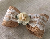 M2M-Made to Match Well Dressed Wolf ~ Feathered Wheat ~ Naomi Pinafore~ Girl Natural Hair Bow with white lace trim