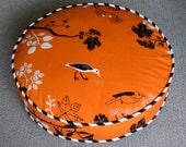 Round Cat Bed in Orange Bird Canvas Fabric