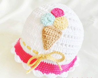 Crocheted baby hat, summer baby hat, white baby hat, baby hat,READY TO SHIP