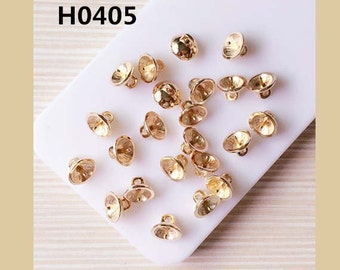 10pcs diy bead cap with peg for half drilled pearls beads charms mix size golden