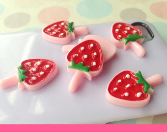 7pcs diy strawberry lollipop candy stick with leaves cabochon 25x16mm flatback red
