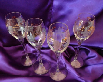 Cordial - Liqueur - Aperitif Glasses Etched Color Design of Grapes and Grape Leaves Set of 4
