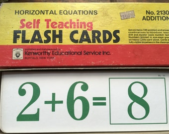 Vintage 60 or 70s Horizontal Equations MATH Flash Cards Kenworthy Educ Service Long 9 in Math Cards Teacher Supply Photo Prop Original Box
