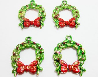 4 Hand Painted Wreath Charms Green Christmas Wreath Red Bow Red Berries