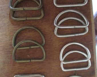 Vintage Set of 14 D Rings - Buckles - Belt/Purse Hardware