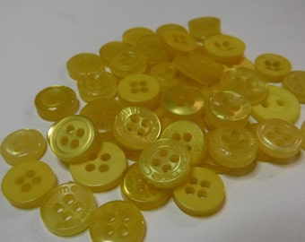 Bright Yellow Buttons, 50 Small Assorted Round Sewing Crafting Bulk Buttons