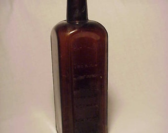c1890s Himalya The Kola Compound Cure for Asthma New York , Amber Cork Top Blown Glass Medicine Bottle