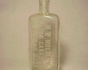 c1890s H.W. Huguley Co. 134 Canal St. Boston, Mass., Nice Cork Top Clear Pint Size Whiskey Flask Bottle