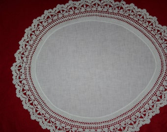 Vintage Hand Crocheted Doily with Coronation Cord- 22.5 inches