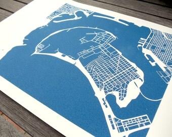"Coronado Island & San Diego Harbor Print (8"" x 10"")"