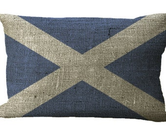 Scottish St Andrew's Cross Saltire Flag  Burlap Lumbar Oblong in Choice of 18x12 20x13 22x12 24x16 Inch Pillow Cover