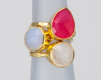 Size 5 Ring- Stackable Stone Ring Set - Stacking Ring - Stackable Rings - Birthstone Ring-  Mothers Rings  - Three Ring Set