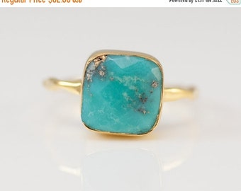 WINTER SALE - Turquoise Ring - December Birthstone Ring - Gem Ring - Gemstone Ring - Gold Ring - Stackable Ring