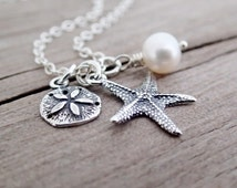 Sterling Silver Starfish, Sand Dollar Necklace, Freshwater Pearl, Sterling Silver Chain, Beach Theme Wedding, Bridesmaid Gift