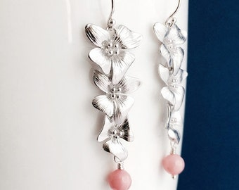 Cherry Blossom Pink Coral Earrings, Cascading Silver Flower Earrings on Argentium Sterling Silver Hoops