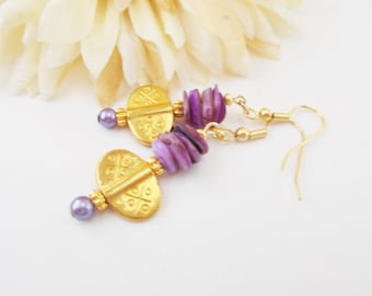 Purple Earrings, Gold Vermeil Earrings, Bohemian Earrings, Sister Gift, Mother of Pearl Earrings, Lavender Earrings, Summer Beach Jewelry
