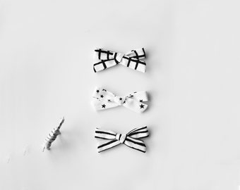 School Girl Bows - Knot Bows Set of Three - Hand Tied Bows - Hair Bows