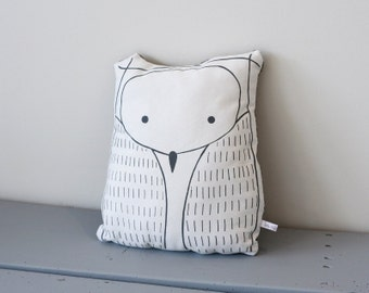 Owl pillow - Grey and white owl shaped cushion