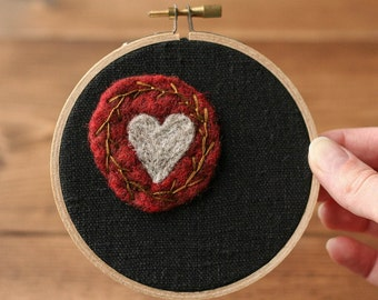"Valentines Day Needle Felted and Embroidered Wall Hanging, Heart Art, Heart Wreath, Hoop Art, 4"" Wooden Hoop, Gift for Her, Red and Black"