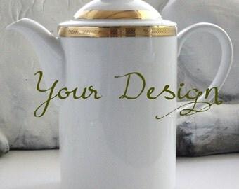 Gold Custom Teapot, Personalized Teapot, Gold Teapot, Custom Wedding Teapot, Bespoke Tea, Custom Coffee Pot, Personalized Coffee Pot