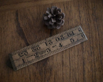 """Stanley No. 7 Folding Boxwood Ruler, Serial F2, 24 """", Brass Bound Hinge and Trim, Marked """" N.Y."""", App Type 352, Serial F.2, No. 7, English"""