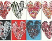 8 Original Heart ACEOs - Abstract, Colorful, Love, Michael Francis Brown. ATC, artist trading card, valentines day, valentine