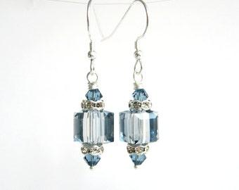 Ice Blue Crystal Drop Earrings, Light Blue Swarovski Crystal Cube Earrings, Wedding / Bridal Jewelry, Light Blue Earrings