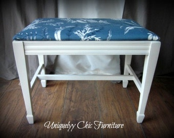 Blue and White Coastal Upholstered Bench