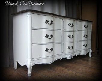 French Provincial Triple Dresser~Antique White with Stained Top~Bassett