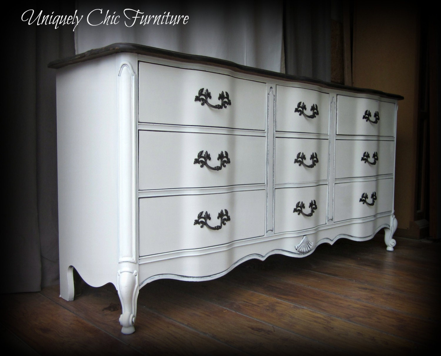 French Provincial Triple Dresserantique White With Stained