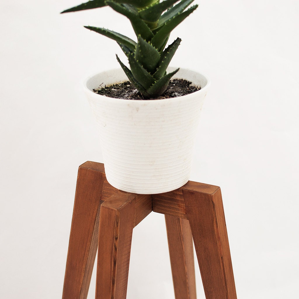 Very Impressive portraiture of Rustic plant stand wood legs planter base mid by CraftedbyOitenta with #7E442C color and 1024x1024 pixels