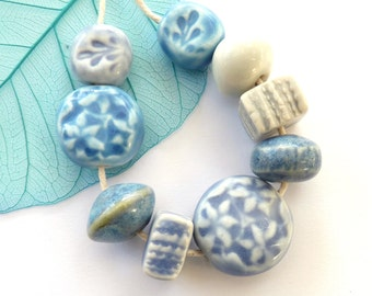 Handmade beads ~ 9 handmade ceramic beads set, textured mixed porcelain beads, unique jewelry supplies, spring jewellery making findings