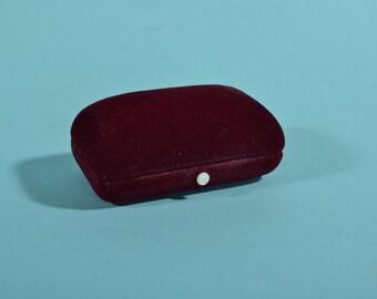 Vintage Velvet Double Ring Box - Carl Greve 1940s Burgundy - 1930s Engagement Proposal