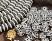 Small Cream Bullseye : Handmade Carved Boho Large Hole Tribal Rondelle Spacer Bone Beads, 5x13mm, Bohemian Jewelry Making Supply, 37 pcs