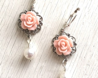 Vintage Pink Rose and White Swarovski Pearl Dangle Earrings.  Bridesmaid Earrings. Bridal Jewelry. Wedding Jewelry. Bridal Party Gift.