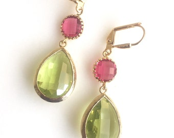 Olive Green and Ruby Red Dangle Earrings. Drop. Fashion Jewelry. Christmas Gift. Fall Jewelry. Autum Earrings. Drop Earrings. Gift.