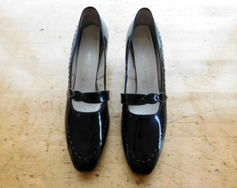 1960s Mary Janes Vintage 60s Black Heels NOS - Size 9