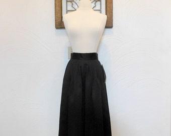 Black Full Skirt Vintage Formal Tea Length Skirt New Old Stock - XS