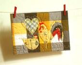 cockerel and hen love original fabric postcard for a happy couple