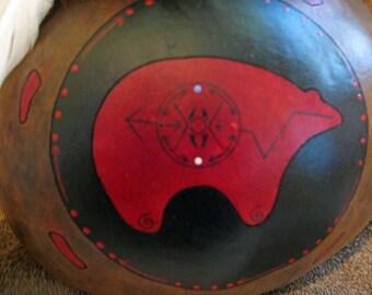 Red Bear Kachina , Gourd Kachina , Animal Totem , Bear Totem , 7 Directions , Turkey Feathers , Totem Art , Hand Painted Gourd , Bear Art