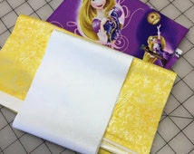 Rapunzel and Prince - Tangled - Disney Princess Pillowcase Kit - all three pieces of fabric needed to sew a customized pillowcase